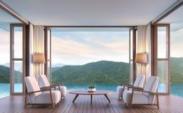 Associe a sala de visitas da casa de campo com imagem da rendição do Mountain View 3d Imagem de Stock Royalty Free