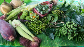 Assort local vegetable ingredient for Thai food Royalty Free Stock Photography