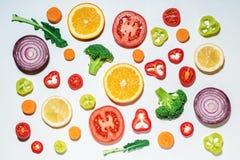 Assorted切了蔬菜和水果 库存图片