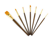 Assorted acrylic paint brushes Stock Photos