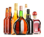 Assorted alcoholic beverages isolated on white Stock Photography