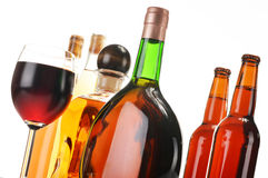 Assorted alcoholic beverages on white Royalty Free Stock Photo