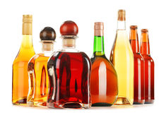 Assorted alcoholic beverages on white Royalty Free Stock Photos