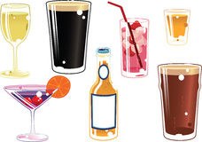 Assorted alcoholic drinks Royalty Free Stock Images