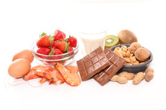 Assorted allergy food Royalty Free Stock Photo