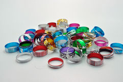 Assorted aluminium rings jewellery Stock Image