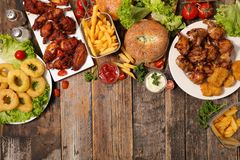 Assorted american food stock images