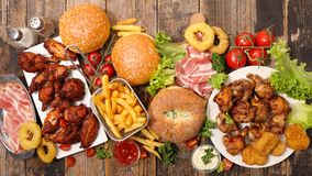 Assorted american food. Top view royalty free stock photos