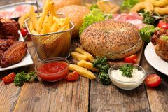 Assorted american food royalty free stock photos