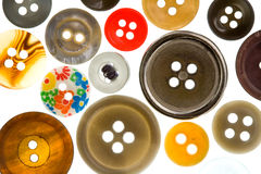 Assorted Antique Buttons. A Collection of Antique buttons in Assorted Colors Stock Photography