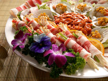 Assorted appetizer plate. A plate of assorted appetizers with meat and other items Royalty Free Stock Photography