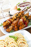 Assorted appetizers. Many dishes of bite size appetizers and party food royalty free stock photo