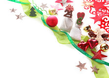 Assorted Attractive Christmas Decors on White Royalty Free Stock Photo