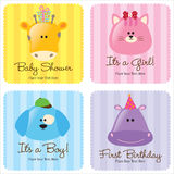 Assorted Baby Cards Set 3. (1- baby shower, 2-birth announcements, 1- first birthday vector illustration