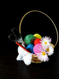 Assorted balls of yarn in a basket. Set of multicoloured yarn for knitting stock image