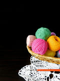Assorted balls of yarn in a basket. Set of multicoloured yarn for knitting royalty free stock image