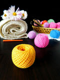 Assorted balls of yarn. Set of multicoloured yarn for knitting royalty free stock photo