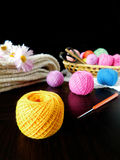 Assorted balls of yarn. Set of multicoloured yarn for knitting stock images