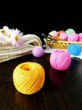 Assorted balls of yarn. Set of multicoloured yarn for knitting royalty free stock photos