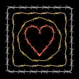 Assorted barbed heart circle square Stock Photography