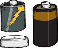 Assorted Batteries. Three different small batteries over white background Royalty Free Stock Images