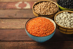 Assorted beans in bowls with red lentil, chick-pea and kidney bean on wooden background. Royalty Free Stock Photo