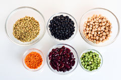 Assorted beans and legumes Royalty Free Stock Photography