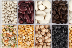 Assorted beans and peas Royalty Free Stock Photos