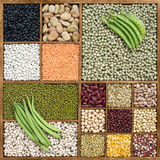 Assorted beans in wooden box Stock Photo