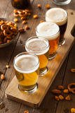 Assorted Beers in a Flight Royalty Free Stock Photos