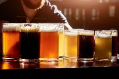 Assorted beers for tasting. Different sorts of draft beers. Set of alcoholic beverage Stock Images