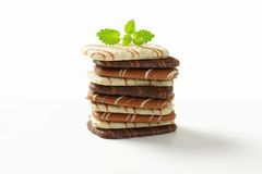 Assorted Belgian chocolate butter biscuits Royalty Free Stock Images