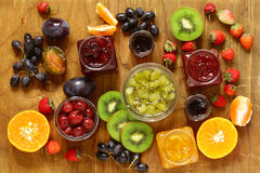 Assorted berries and fruit jams. Homemade canning. Royalty Free Stock Images