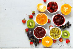 Assorted berries and fruit jams. Homemade canning. Stock Photo