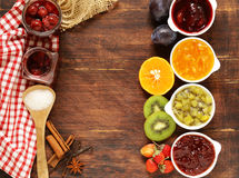 Assorted berries and fruit jams. Homemade canning. Fresh berries and fruits Stock Images
