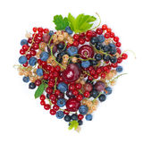 Assorted Berries In The Form Of Heart, Top View, Isolated Royalty Free Stock Photo