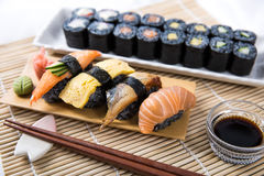 Assorted Black Sushi and Maki Roll Royalty Free Stock Images
