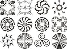 Assorted black & white design elements Royalty Free Stock Photography