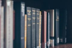 Assorted Books On The Shelf Stock Images