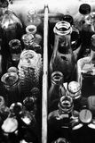 Assorted bottles abstract background B&W Royalty Free Stock Images