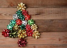 Assorted Bows in Christmas Tree Shape Stock Photography