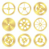 Assorted Brass Gears. Isolated on White in Vector Format Royalty Free Stock Image