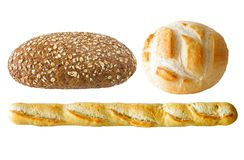 Assorted bread. Assorted loafs of bread isolated on white background Stock Image