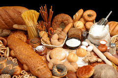 Assorted bread and ingredients stock photo