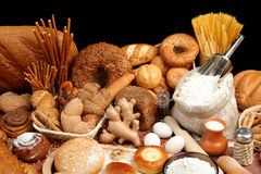 Assorted bread and ingredients royalty free stock photos