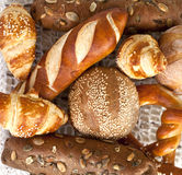Assorted bread and rolls. Close up of assorted bakery and pastry Stock Photo