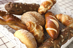 Assorted bread and rolls. Close up of assorted bakery and pastry Royalty Free Stock Image