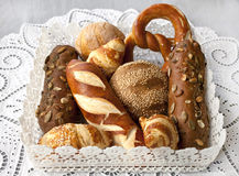 Assorted bread and rolls. Close up of assorted bakery and pastry Stock Photography