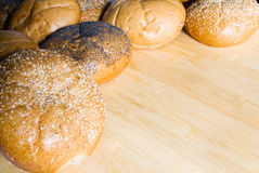 Assorted Bread Rolls with Copy Space Royalty Free Stock Photos
