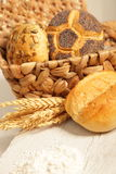 Assorted bread rolls with wheat Royalty Free Stock Images